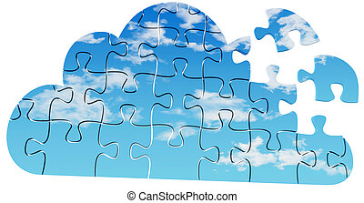 Cloud computing tech puzzle solution - Pieces of jigsaw...