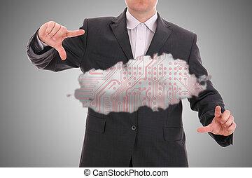 Cloud computing, technology concept.