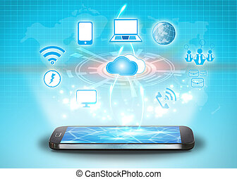 Cloud computing, technology concept