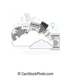 Cloud Computing Technology Device Set Internet Data Information Storage Thin Line