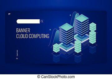 Cloud computing technology, remote data storage, server room data center concept, cloud database service, dark neon violet