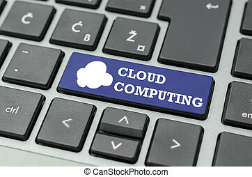 Cloud computing text and icon on a computer key