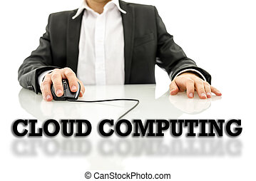 Cloud computing text on a reflective surface with a...