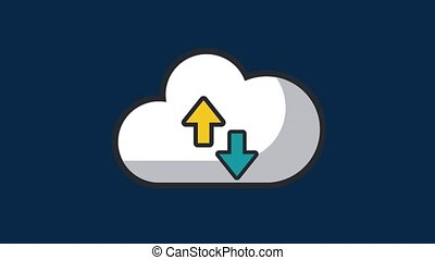 Cloud computing upload and download HD animation - Upload...