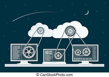 cloud computing - Cloud computing concept. Data storage...