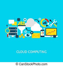 Cloud Computing Vector Flat Concept