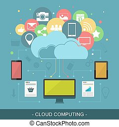 Cloud computing vector illustration.