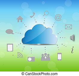 Cloud computing vector illustration on nature background. Vector illustration.