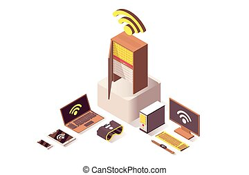 Cloud computing vector isometric illustration. Internet server, online hosting, computer hardware equipment and IoT technology. Wifi wireless network, database storage isolated 3d