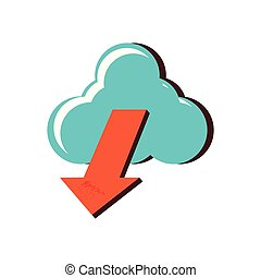 cloud computing with arrow down