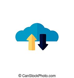 cloud computing with arrows down and up load flat style ...