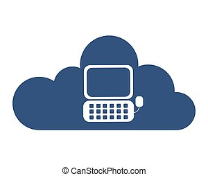 cloud computing with computer icon