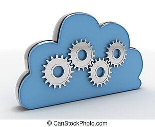 Cloud computing with metal gears in the design of information related to computer technology. 3d rendered  illustration