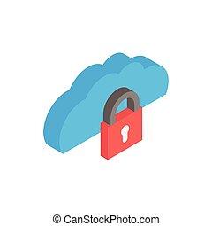 cloud computing with padlock icon