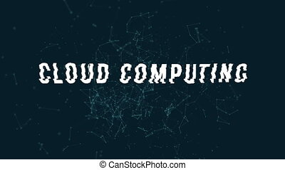 Cloud computing with polygonal connecting dots and lines