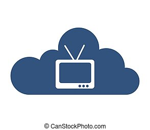 cloud computing with tv icon