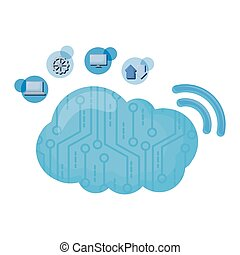 cloud computing with wifi and data icons