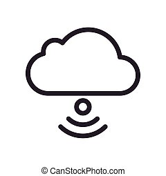 cloud computing with wifi signal line style icon