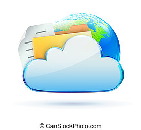 illustration of cool cloud based data sharing concept icon