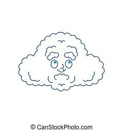 Cloud confused oops. perplexed emotions. Vector illustration