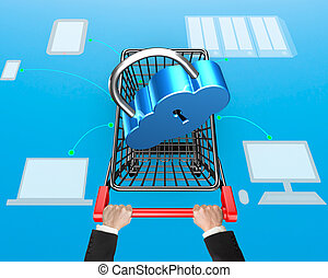 Cloud connecting security concept, lock on shopping cart with drawing