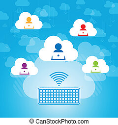 Cloud Contacts Sharing - Vector abstract illustration of...