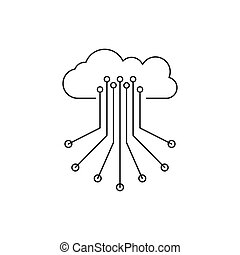 Cloud control icon, outline style