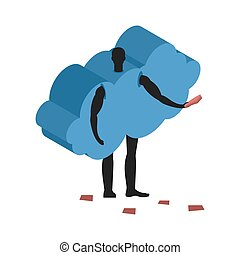 Cloud costume man mascot promoter. Male in suit distributes flyers. Puppets swarm engaged in advertising goods