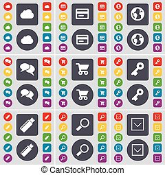 Cloud, Credit card, Earth, Chat, Shopping cart, Key, USB, Magnifying glass, Arrow down icon symbol. A large set of flat, colored buttons for your design. Vector