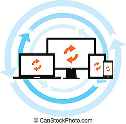 This image is a vector file representing a cloud data backup sync concept