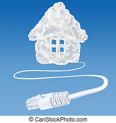 Cloud data base concept - Ethernet-LAN cable coming out from...