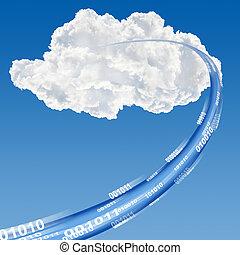 Cloud data base concept - Ethernet-LAN cable reaching cloud...