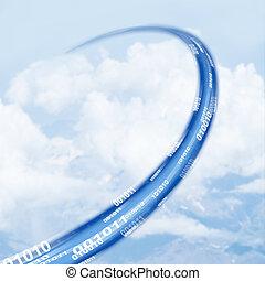 Cloud data base concept - Ethernet-LAN cable reaching sky -...