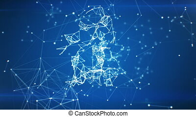 Cloud Data Icon Appearing in Network Cloud from Lines and Dots. Symbol Forming from Particles. Looped 3d Animation. Loop from 100 to 500 frames. Business and Technology Concept. 4k UHD 3840x2160.