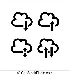 Cloud Data Icon, Upload Download Store Data