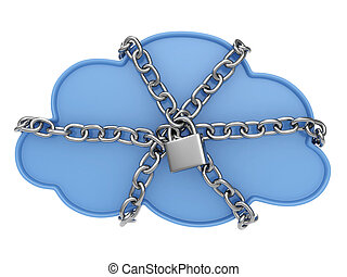 Cloud Data Security - 3D Illustration of a Cloud Secured...