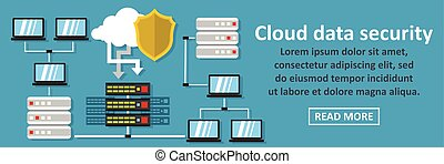 Cloud data security banner horizontal concept