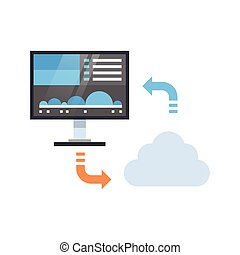 Cloud Data Synchronization Icon Computer Connection Database...
