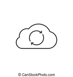 Cloud data synchronization outline icon