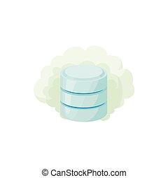 Cloud database icon, cartoon style