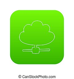 Cloud database icon green