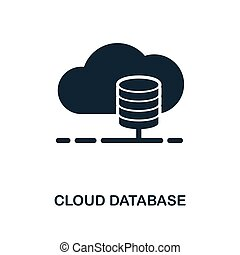 Cloud Database icon. Monochrome style design from big data icon collection. UI. Pixel perfect simple pictogram cloud database icon. Web design, apps, software, print usage.