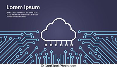 Cloud Database Over Computer Chip Moterboard Background Data Center System Concept Banner