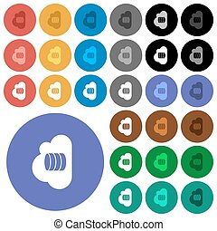Cloud database round flat multi colored icons
