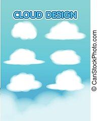 Cloud Design Set Blur Sky Vector
