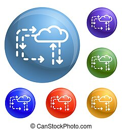 Cloud direction icons set 6 color isolated on white background