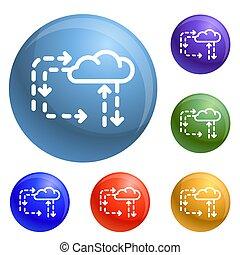 Cloud direction icons set