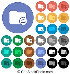 Cloud directory round flat multi colored icons