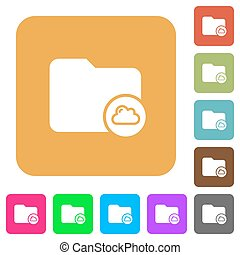 Cloud directory rounded square flat icons