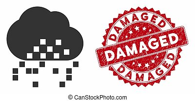 Cloud Dissipation Icon with Distress Damaged Stamp - Vector ...